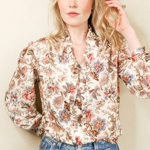 70s Vintage Ruffled Floral Button Down Blouse